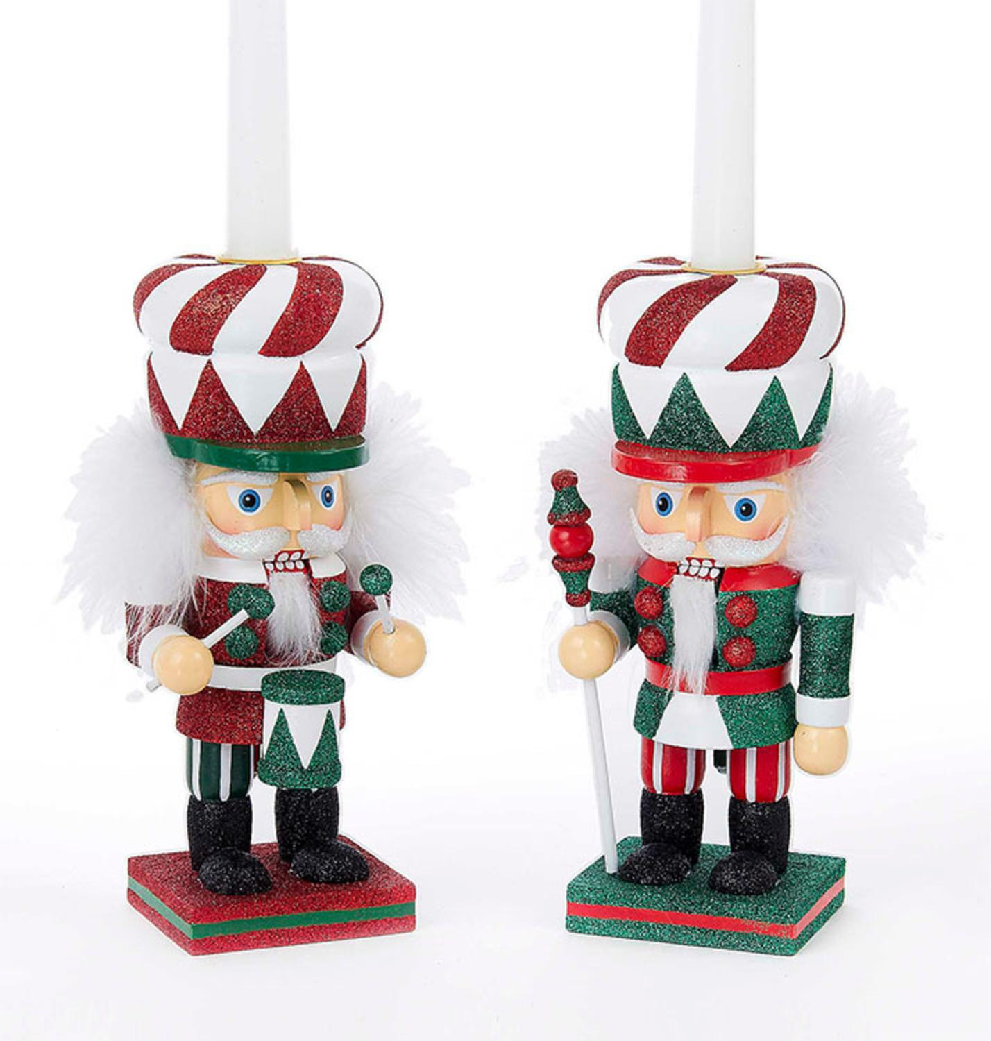 Set of 2 Hollywood Red, Green and White Traditional Peppermint Christmas Nutcracker Taper Candle Holders
