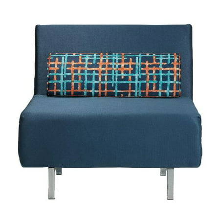 Cortesi Home Savion Convertible Accent Chair Bed Navy Blue