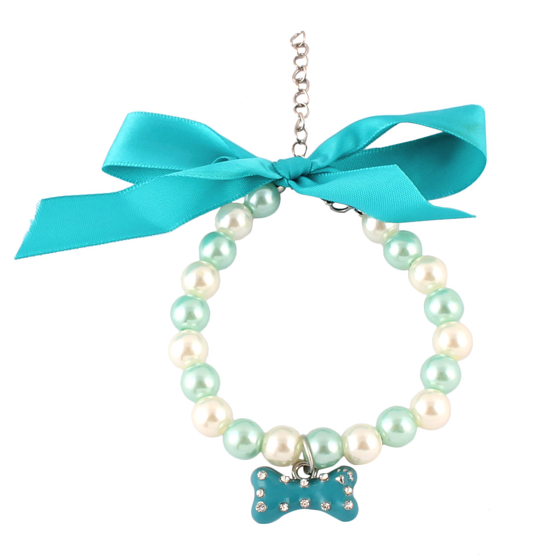 Plastic Bowknot Pet Ornament Adjustable Pet Necklace Blue 20cm~25cm Girth