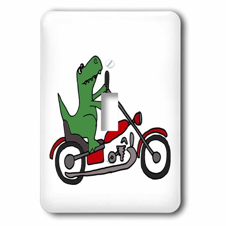 3dRose Fun Green T-Rex Dinosaur Riding a Red Motorcycle, 2 Plug Outlet Cover