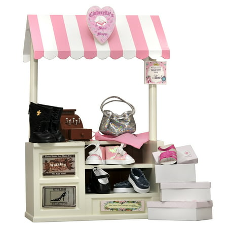 18 In Doll Furniture, COMPLETE Interchangeable Cinderella's Shoe Shop, Signs, Cash Register, Money, Shoes, Boots & Hand - Interchangeable Boots