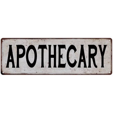 APOTHECARY Vintage Look Rustic Metal City State Sign 6 x 18 High Gloss Metal 206180041258
