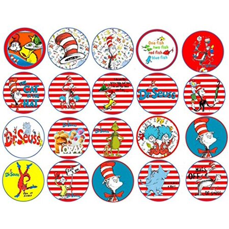 20 Dr Seuss inspired Edible Frosting Image Cupcake Topppers