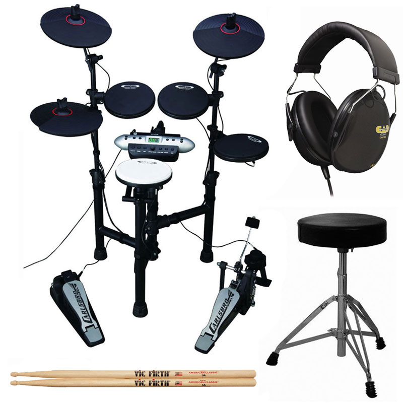 Carlsbro CSD130 9-Piece Compact Electronic Drum Kit + Cannon UP197 Drum Throne + Drummer... by Samson