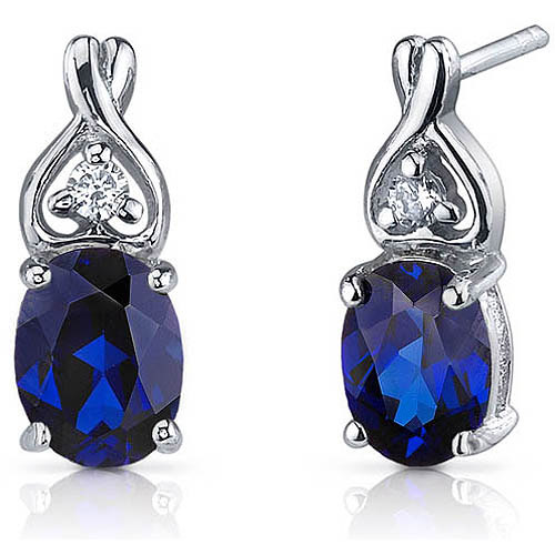 Oravo 3.50 Carat T.G.W. Oval-Cut Created Blue Sapphire CZ Rhodium over Sterling Silver Drop Earrings