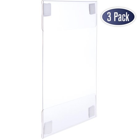 Acrylic Sign Holder with Hook and Loop Adhesive, 8.5 x 11 inches - Portrait or 11 x 8.5 inches - Landscape, Clear Wall Mount Frame, Perfect for home, office, store, restaurant (3 Pack) (Wall Mount Acrylic Sign Holder)