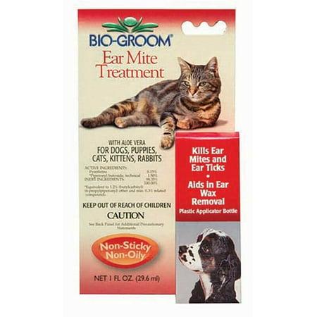 Pet Ear Tick & Mite Treatment Drops Safe Aloe Natural Dog Cat Rabbit Formula (1oz)
