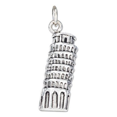 STERLING SILVER ANTIQUED LEANING TOWER OF PISA - Leaning Tower Charms