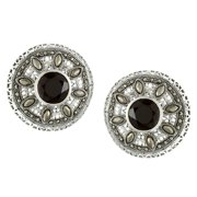 Sterling Silver Black Onyx and asite Round Stud Earrings