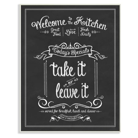 The Stupell Home Decor Collection Welcome To the Kitchen Chalkboard Vintage Sign Wall Plaque -