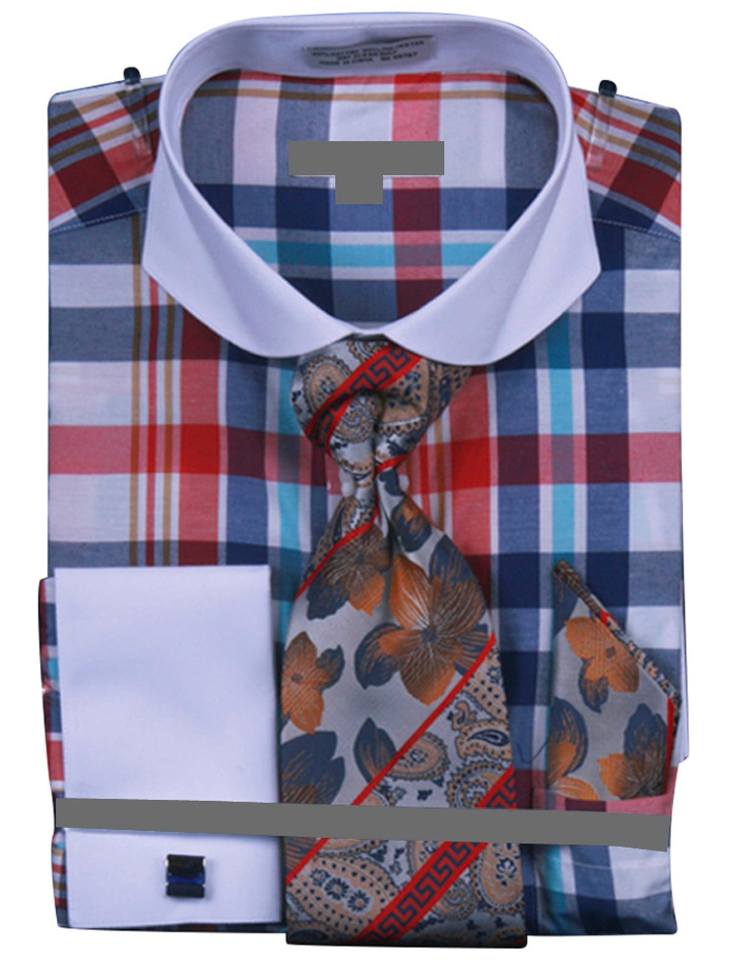 men's multi checker french cuff dress shirt tie hanky cufflinks