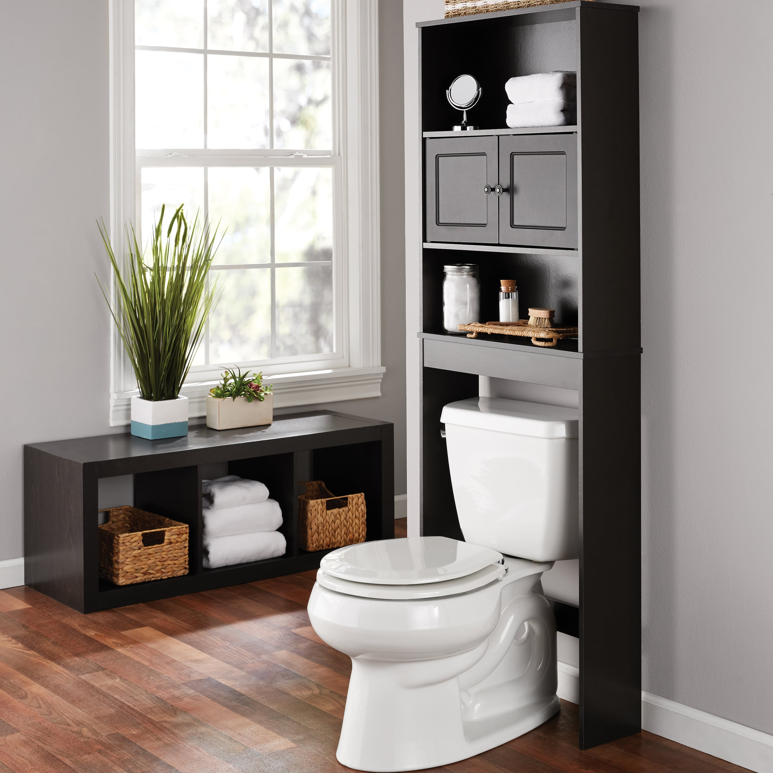 OVER THE TOILET Storage Organizer Bathroom Space Saver Wood Cabinet Cube Shelves