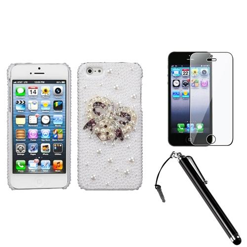 Insten Heart Bow Pearl 3D Diamante Case For iPhone 5S 5 + Stylus + LCD Guard
