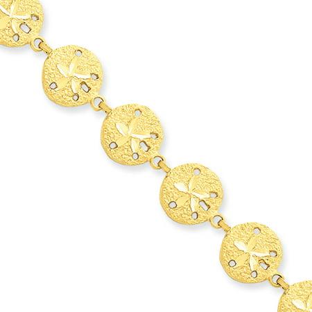 14k Yellow Gold Diamond Cut Sand Dollar Bracelet - 7