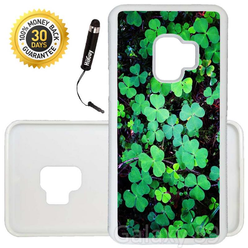 Custom Galaxy S9 Case (Green Clover Leaf) Edge-to-Edge Rubber White Cover Ultra Slim | Lightweight | Includes Stylus Pen by Innosub