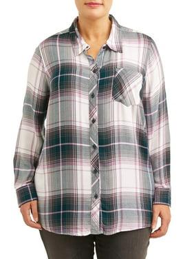 Women's Plus Size One-Pocket Plaid Button Down Shirt