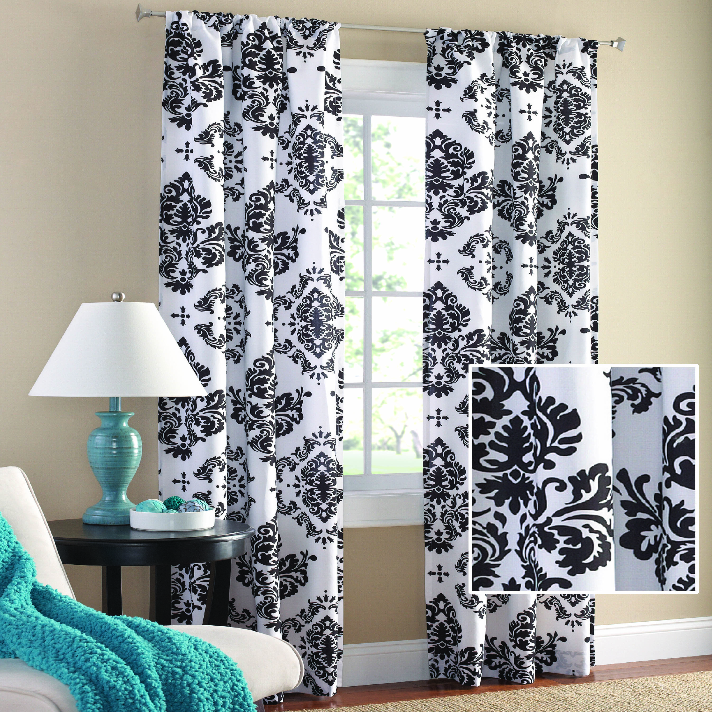 Grayson silver gray jacquard fabric cloth bathroom bath shower curtain - Mainstays Classic Noir Window Curtains Set Of 2