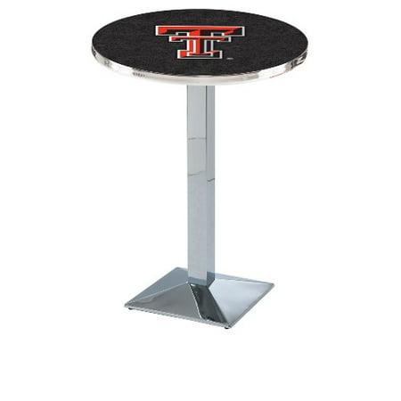 Texas Tech Pub Table - NCAA Pub Table by Holland Bar Stool, Chrome - Texas Tech, 36'' - L217