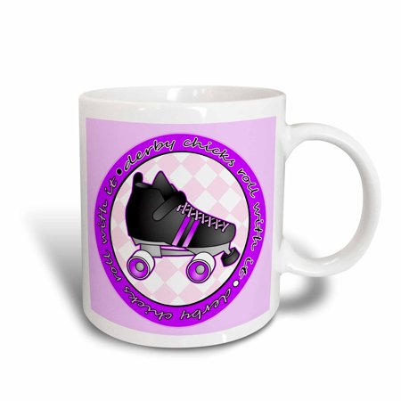 - 3dRose Derby Chicks Roll With It Purple with Black Roller Skate, Ceramic Mug, 11-ounce