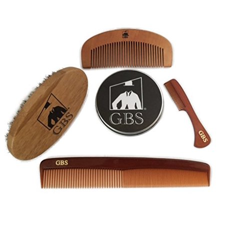Bamboo Comb (GBS Combo Set (4 Pc Kit) Premium Oval Wood Beard Brush with Boar Bristles, Bamboo All Fine Beard Comb, Tortoise Pocket Beard and Moustache Comb & Tortoise Dressing Comb)