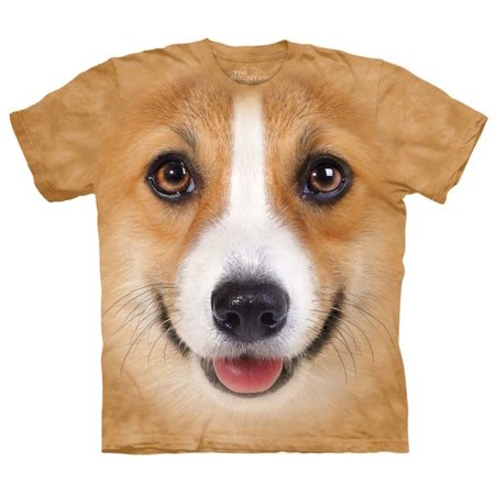Brown 100% Cotton Corgi Face Realistic Graphic T-Shirt NEW for $<!---->