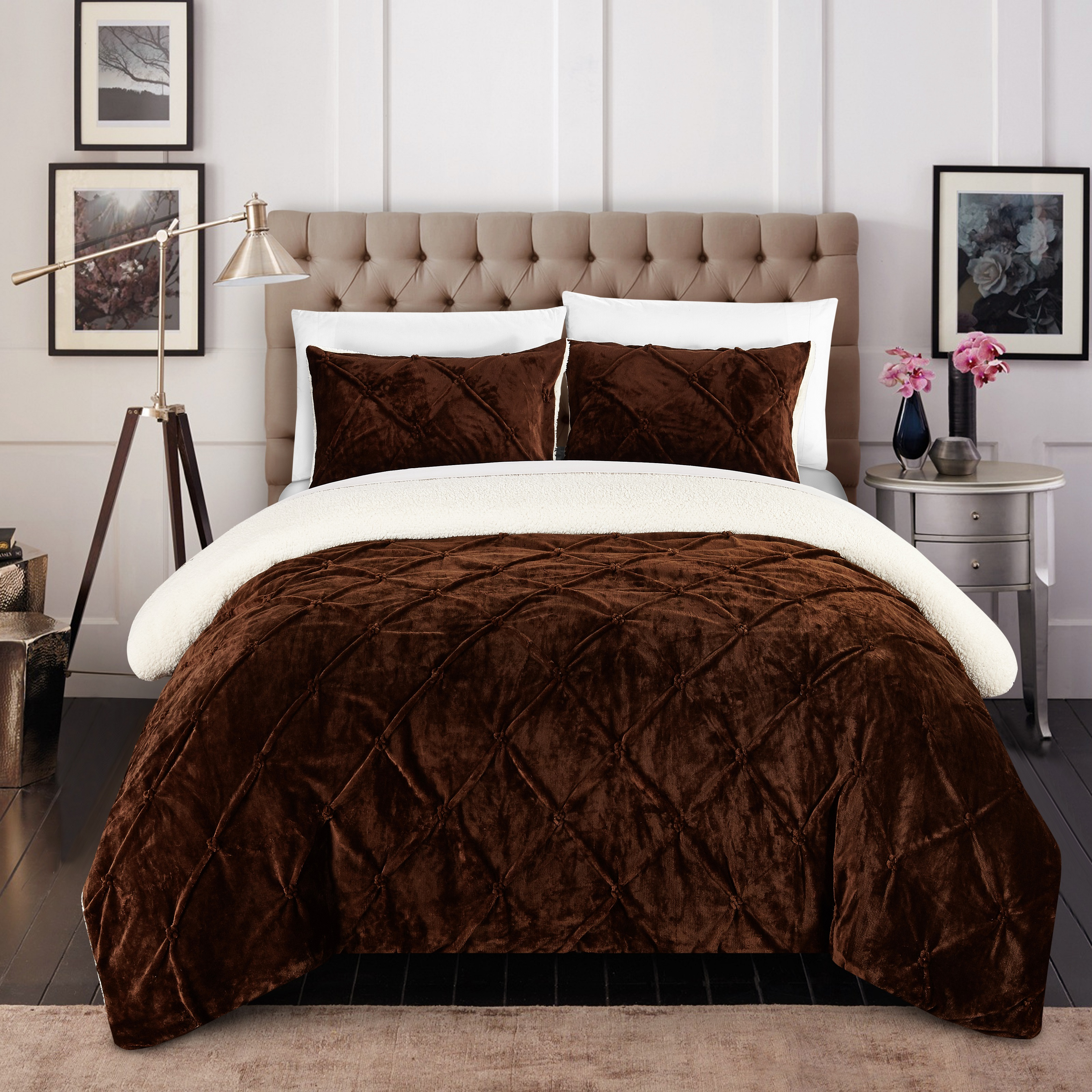 Chic Home 2-Piece Chiara Pinch Pleated Ruffled and Pin tuck Sherpa Lined Twin X-Long Bed In a Bag Comforter Set Brown