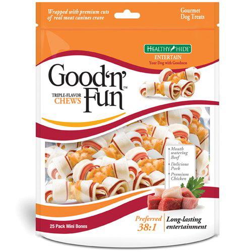 Healthy Hide Good 'N' Fun Triple Flavor Chews, 25-Pack