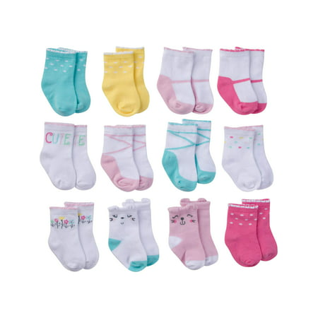 Assorted Jersey Crew Socks, 12pk (Baby Girl)