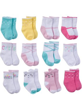 Onesies Brand Assorted Stay-on Jersey Ankle Bootie Socks, 12-Pack (Baby Girls)