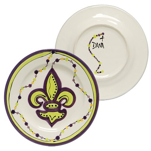 Thompson and Elm Dana Wittmann Mardi Gras and Fleur De Lis Fleur De Lis Handpainted Ceramic Plate (Set of 4)