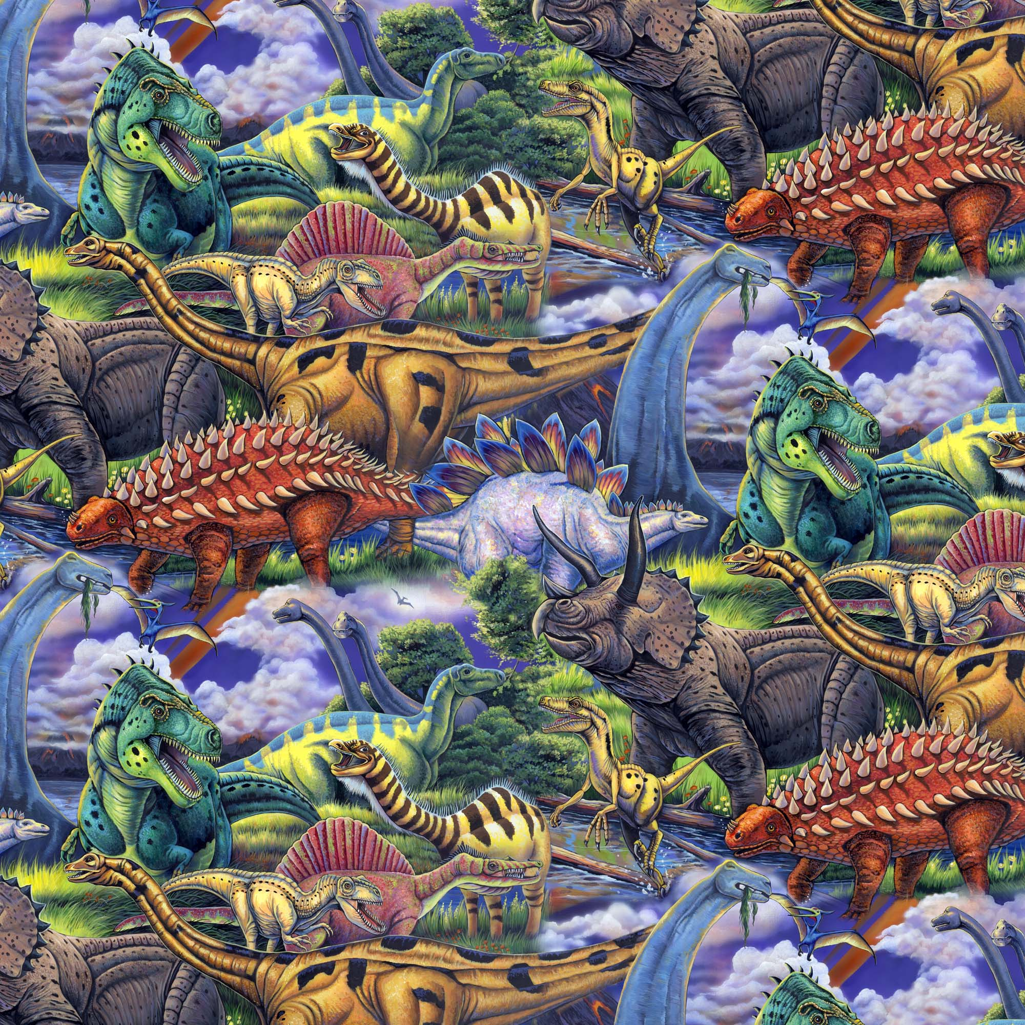 David Textiles Cotton Precut Fabric Dinosaurs 1 Yd X 44 Inches