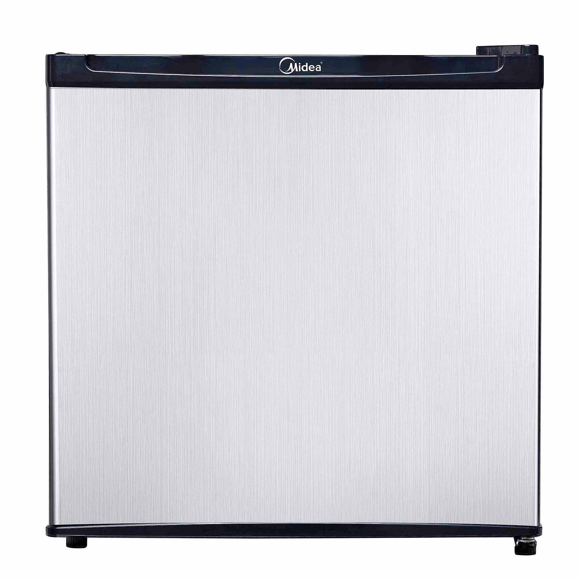 Midea 1.6 Cu. Ft. Compact Refrigerator with Reversible Door & Recessed Handle, Stainless Steel.