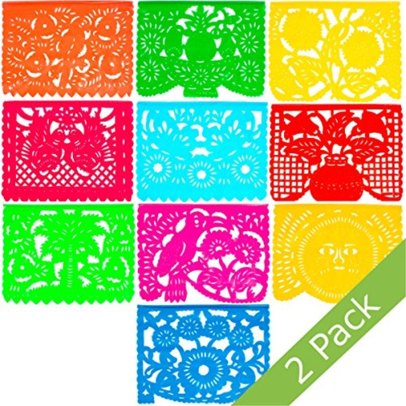 Large Plastic Papel Picado Banner - 15 Feet Long - Two Designs to choose from (2 Pack, All Occasions)