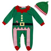 2Pcs Baby Boys Girls Christmas Clothes Outfits  Long Sleeve Romper Hat Jumpsuit Overalls Set Xmas Gift