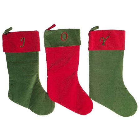3 Piece Red & Green Joy Monogram Christmas Stocking Holiday Decoration - Monogrammed Stocking