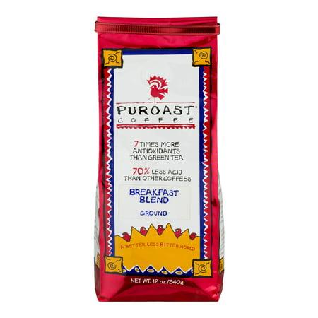 Puroast Coffee Ground Breakfast Blend, 12.0 - Low Grounds