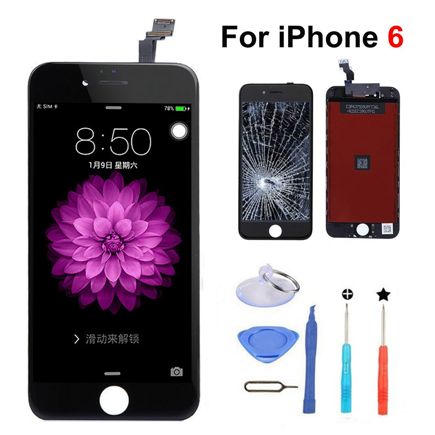 "iPhone 6 4.7"" LCD Screen Replacement Touch Screen & Digitizer with Free Tools kit (Black)"