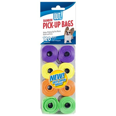 Dog Waste Pick Up Bags  120 Count  8 Rolls   Rainbow Colors  Usa  Brand Out