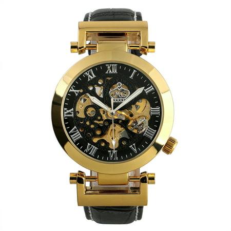 Automatic Mechanical skeleton Wrist Watch Roman Numberals Black Leather - Skeleton Wrist