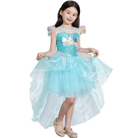 Girls Unicorn Costume Dress Little Pony Cosplay Dress up
