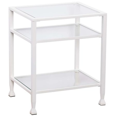 Southern Enterprises Jaymes Glass Top Metal End Table In White