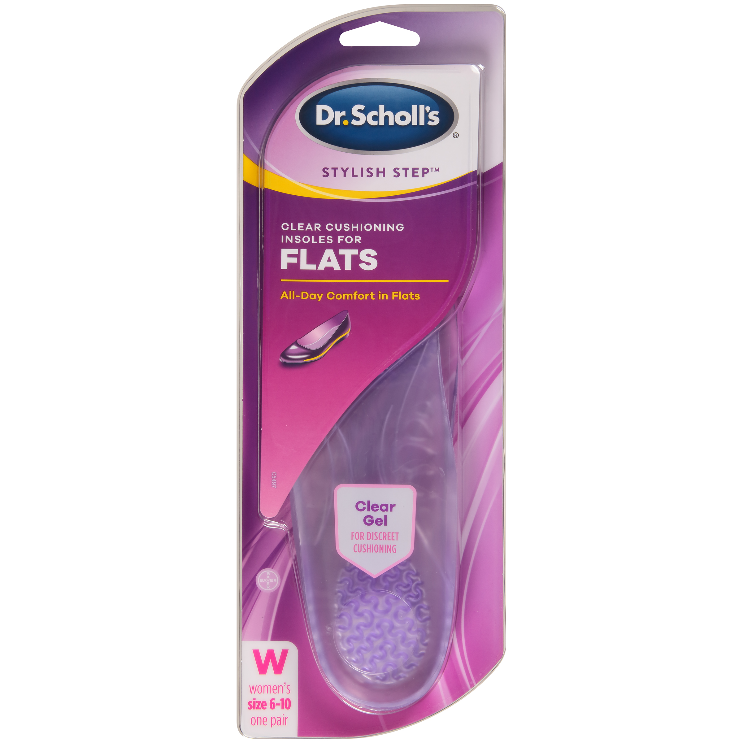 Dr. Scholl's Stylish Step Clear Cushioning Insoles for Flats, 1 Pair, Size 6-10