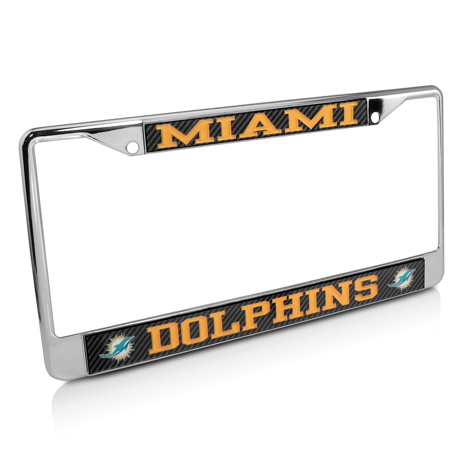 NFL Miami Dolphins Carbon Fiber Look License Plate Frame