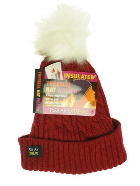 5dae3b4fd7b76 Product Image Polar Extreme Women s Thermal Lined Insulated Pom Pom Cable  Knit Beanie Red