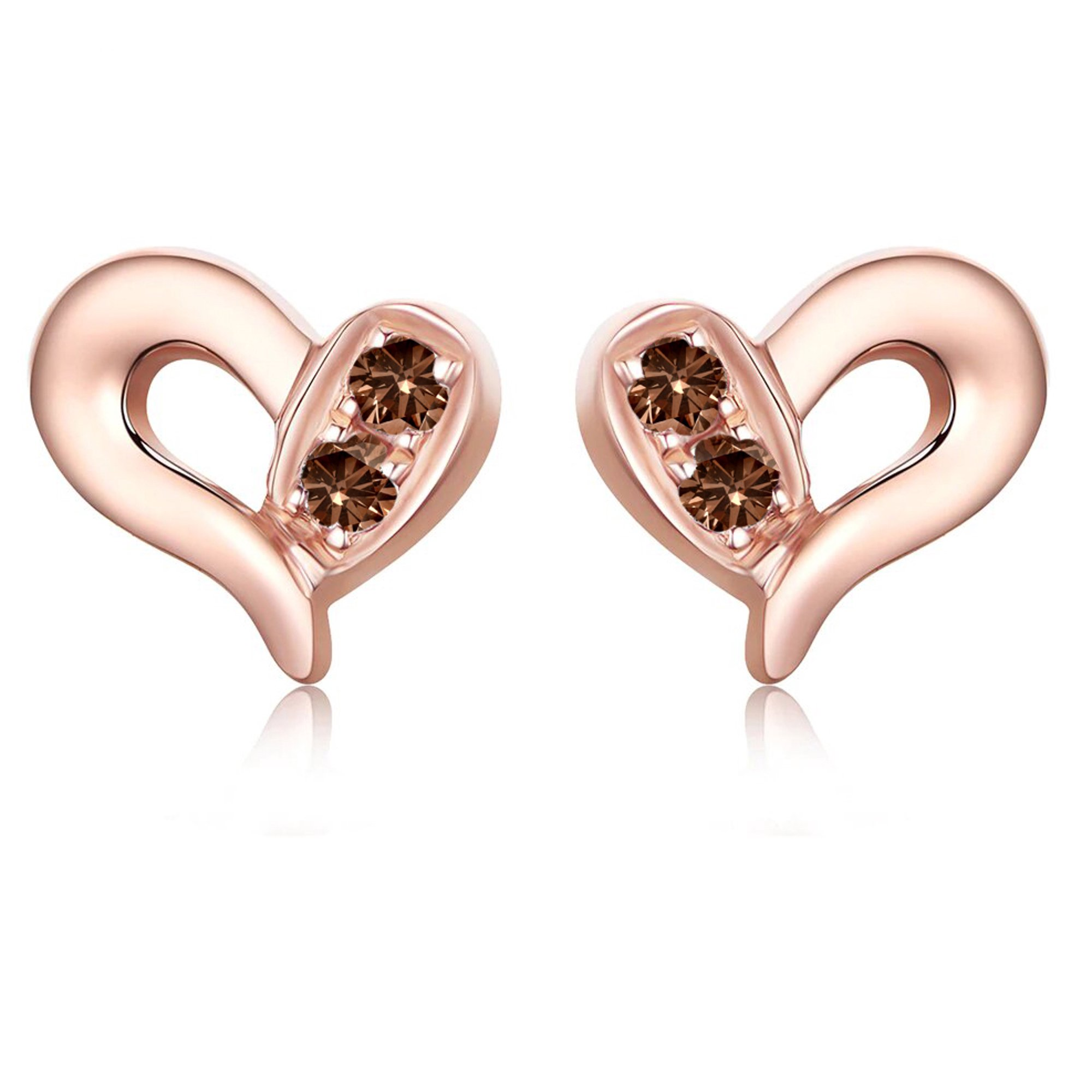 Heart Design 10 Carat Round Brilliant Chocolate Brown Diamond Stud Earrings In 10k Rose Gold Walmart Canada