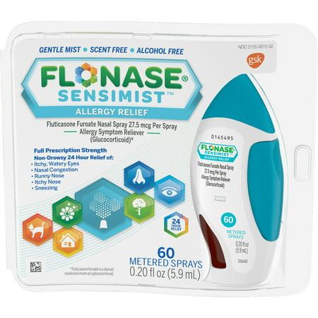 Flonase Sensimist 24Hr Allergy Relief Nasal Spray  Gentle Mist  Scent Free  60 Sprays
