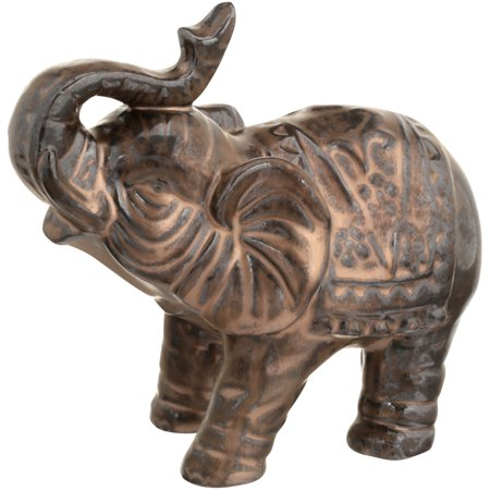 Brown Tabletop Elephant Figurine - Lucky Elephant Art Glass Figurine