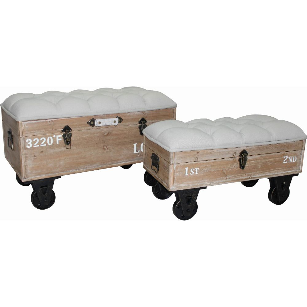 Distressed style Industrial Ottoman Set of Two by Urban Port