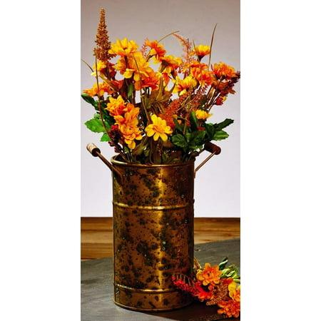 Antique Primitive Vintage Vintage Rust Brownic Brass Gold Color Metal Vase With Wood Handles for Flowers and Decor ()