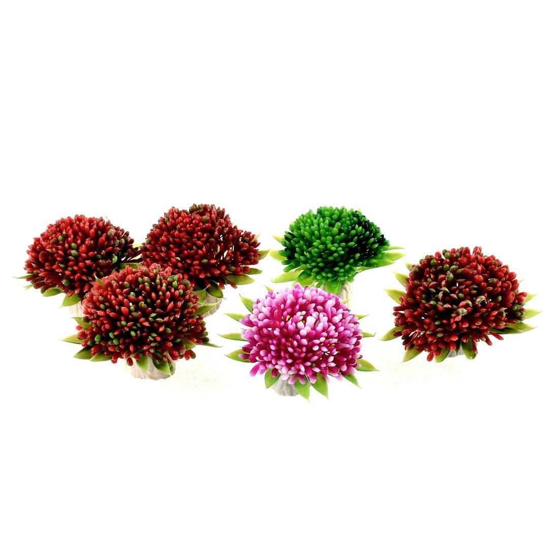 Aquarium Artificial Aquatic Plastic Plants Green Yellow Red 4.5cm High 6 Pcs